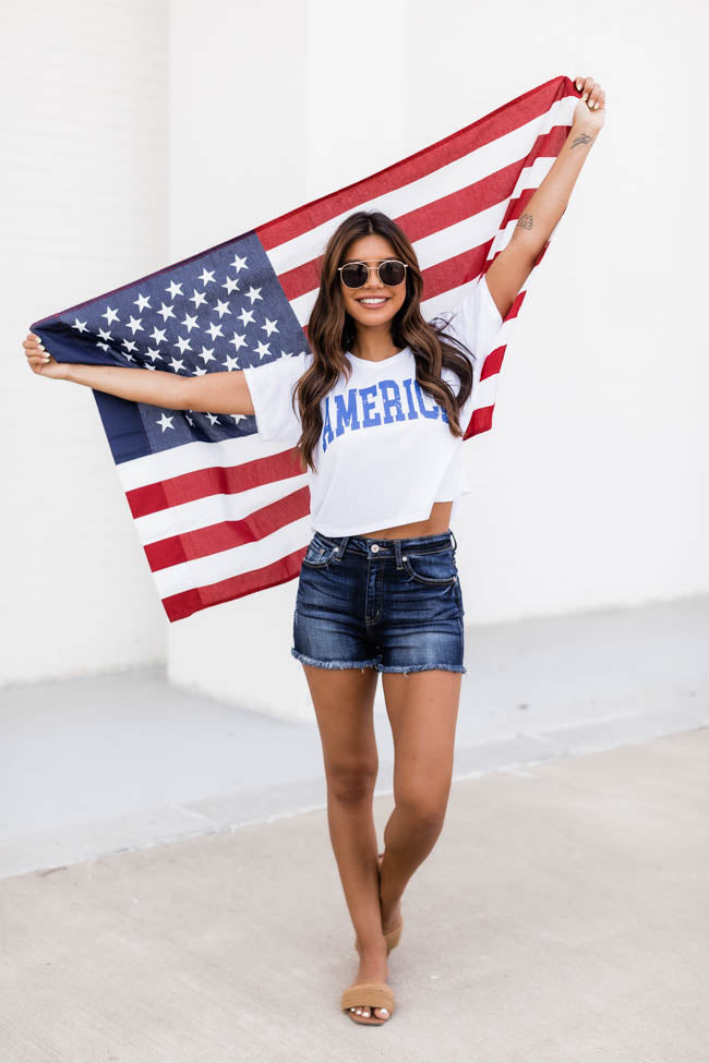 America Distressed Blue Cropped Graphic Tee White