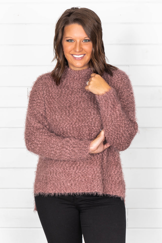 A Moment To Shine Dark Mauve Popcorn Pullover FINAL SALE