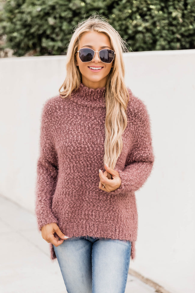 A Moment To Shine Dark Mauve Popcorn Pullover