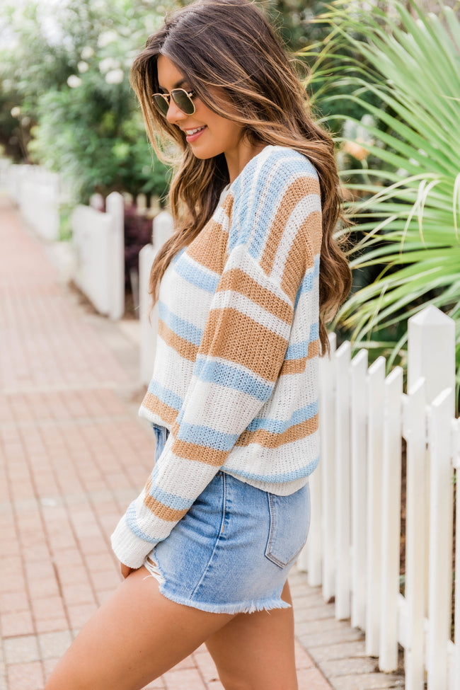 A Breezy Walk Striped Blouse Light Blue
