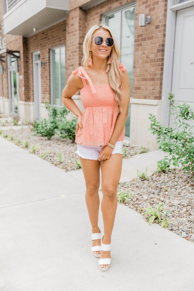 A Faithful Love Peach Lace Tank CLEARANCE