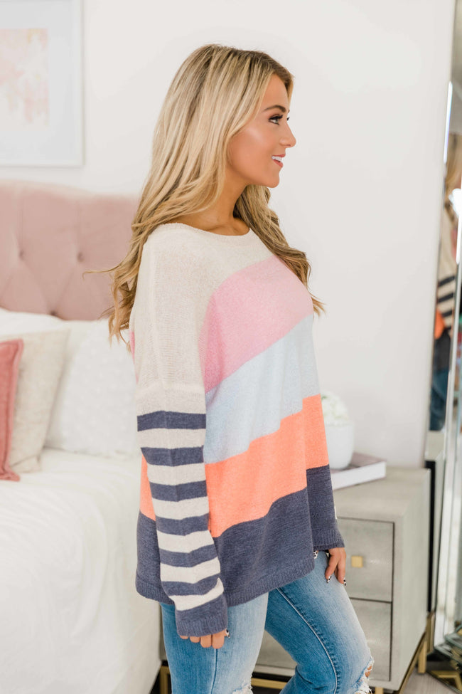 A Little More In Love Multicolor Colorblock Sweater