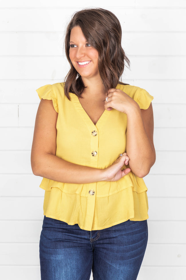 Admit My Love To You Mustard Blouse