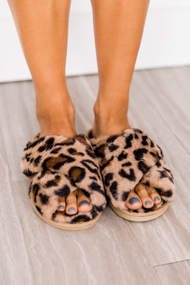Afternoon Nap Animal Print Brown Slippers