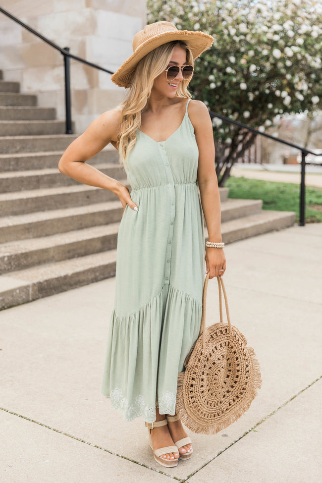 All In Your Heart Maxi Dress Sage