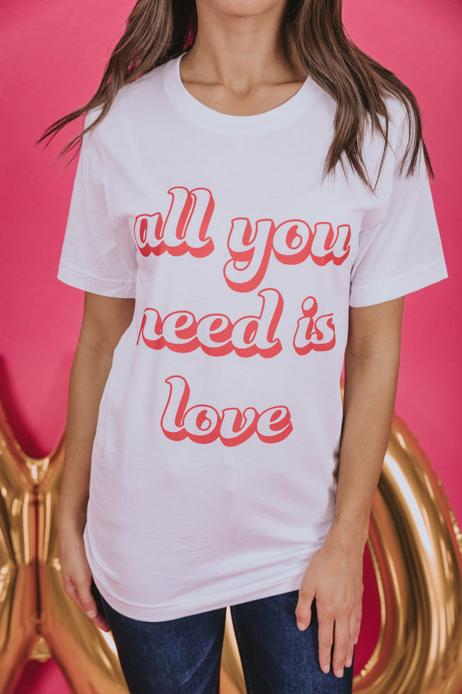 All You Need Is Love Retro White Graphic Tee
