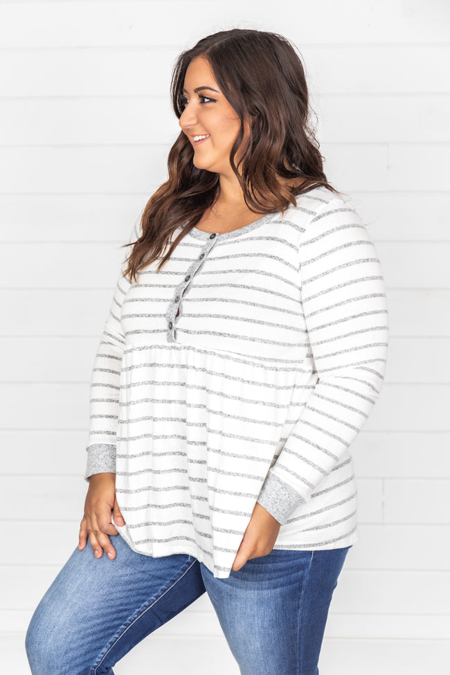 Always Thinking About You Grey Striped Blouse FINAL SALE
