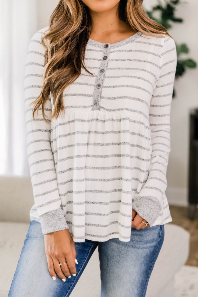 Always Thinking About You Grey Striped Blouse