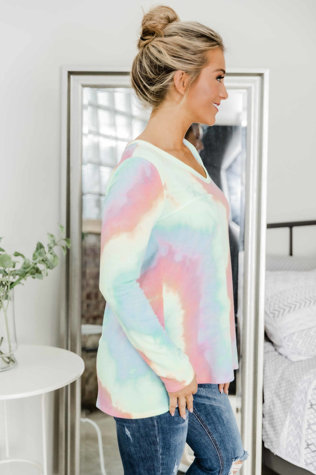 Always Be Happy Rainbow Tie Dye Blouse