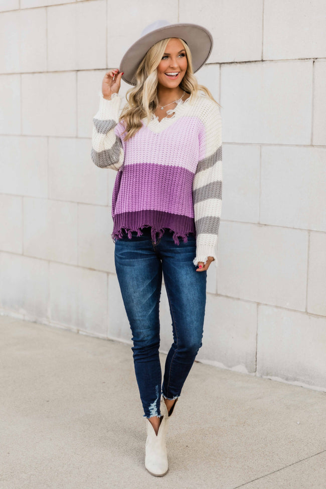 Amaze Me The Most Purple Colorblock Distressed Sweater