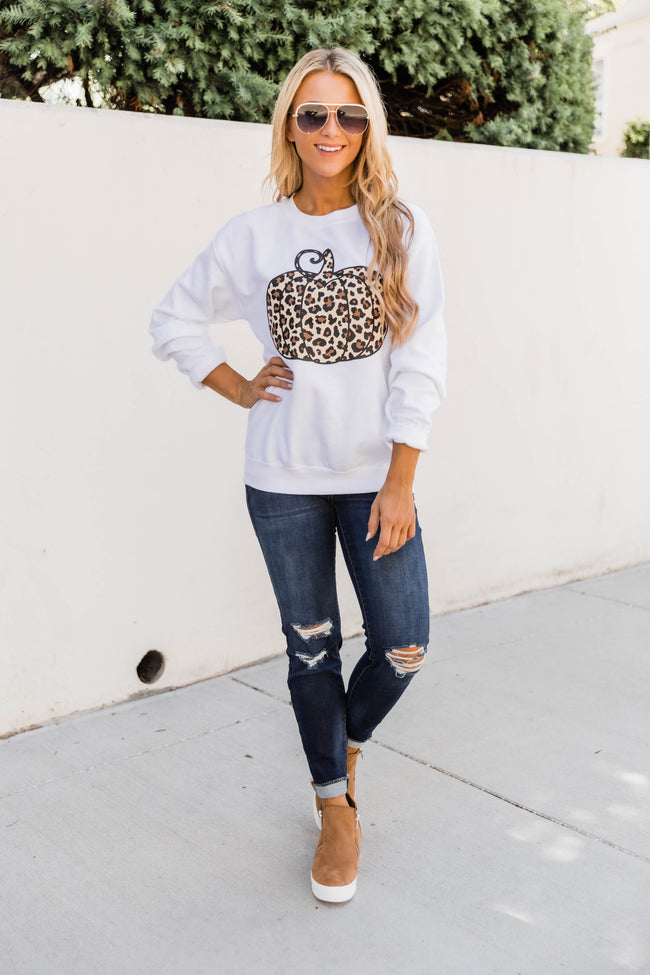 Animal Print Pumpkin White Graphic Sweatshirt