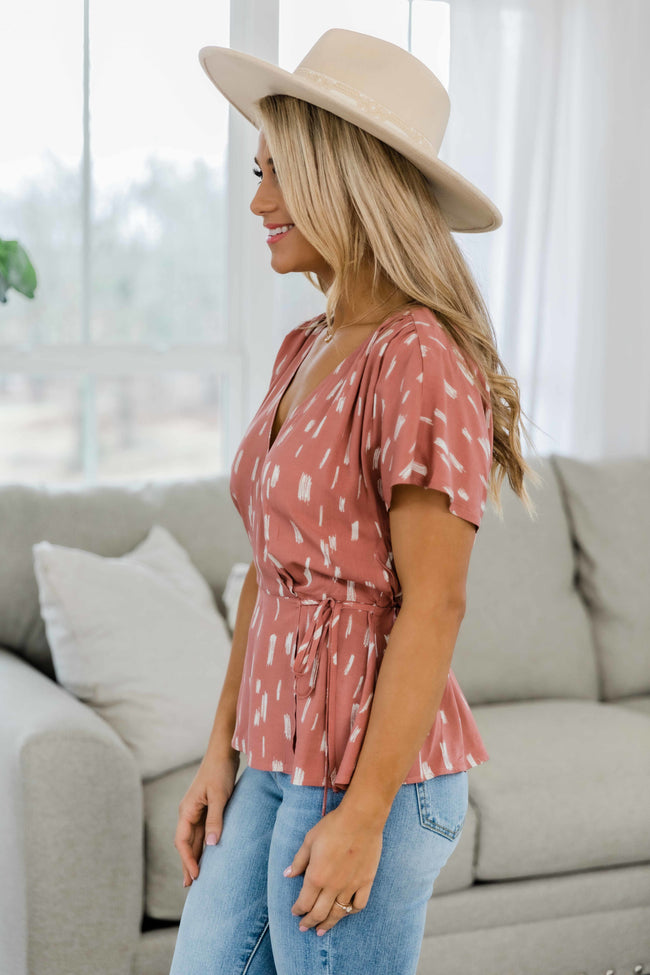 Another Story To Tell Printed Blouse Mauve/Cream
