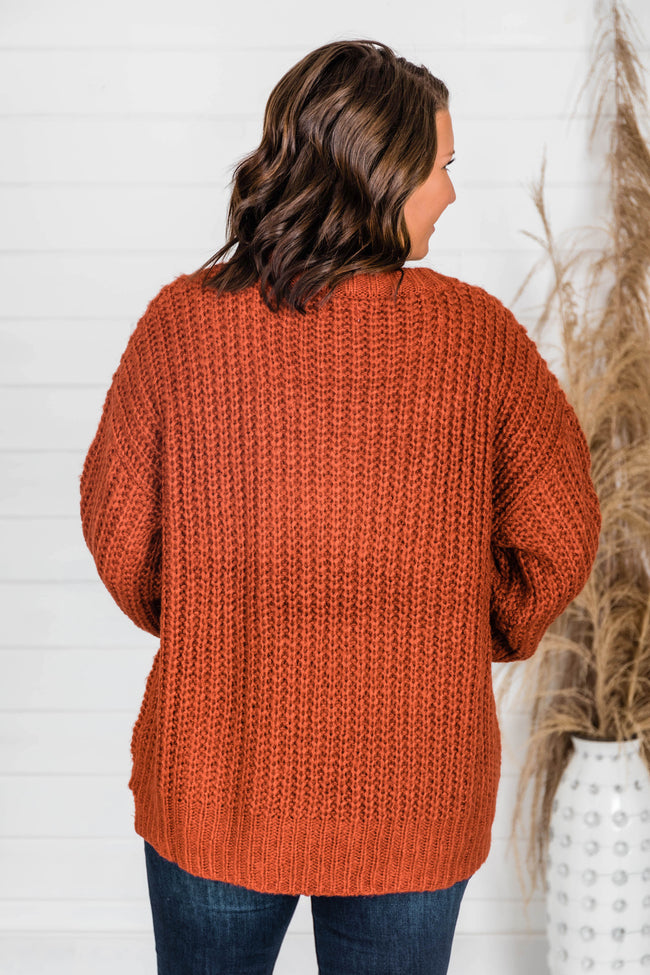 Autumn Leaves Knit Rust Sweater