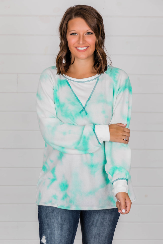 Back Again Tie Dye Pullover Turquoise FINAL SALE