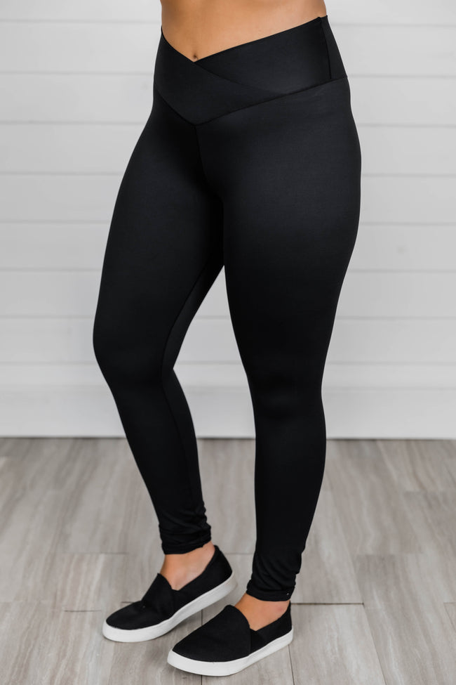 Back At It Again Solid Leggings Black