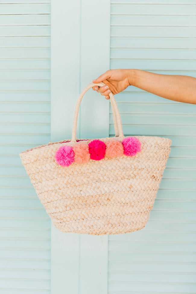 Beach Buddy Straw Tote Fuchsia