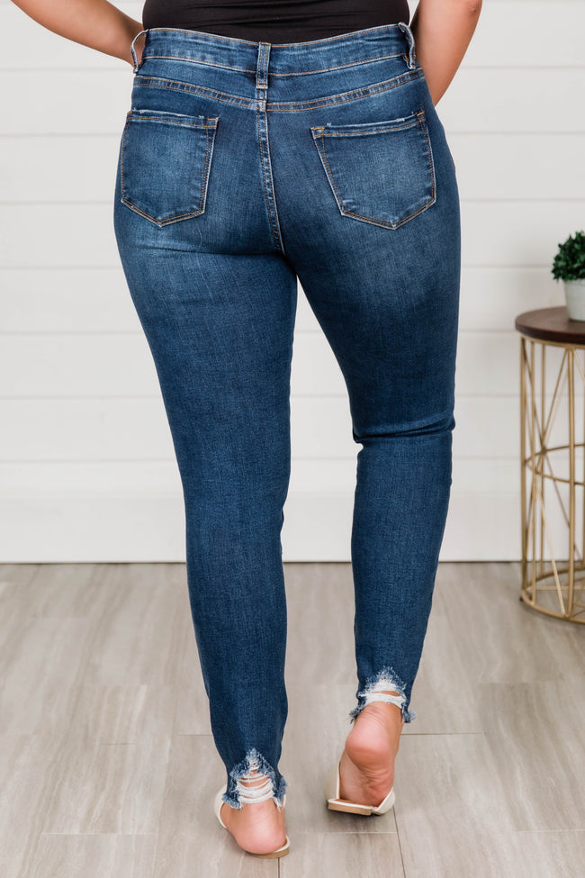 Beverly Distressed Skinny Jeans Dark Wash