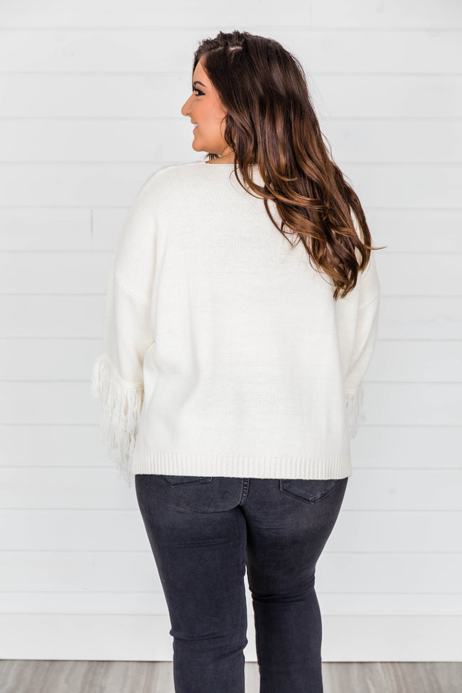 By The Firelight Ivory Fringe Sweater
