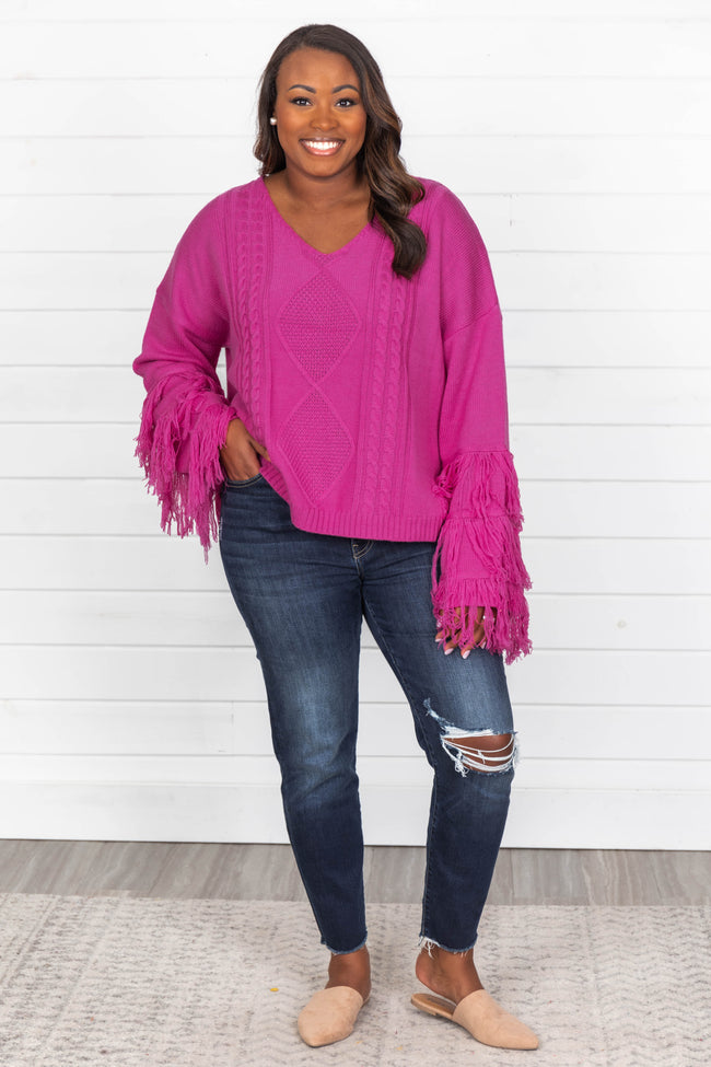 By The Firelight Magenta Fringe Cropped Sweater