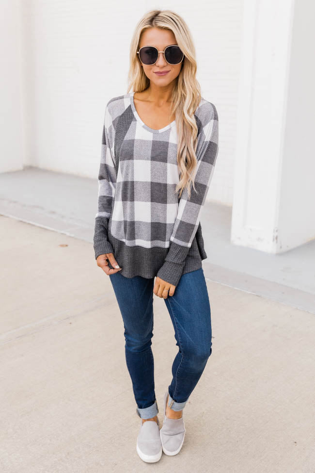 Call This Love Home Cream Plaid Blouse