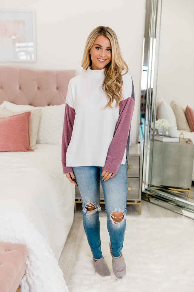 Call You Over White Colorblock Pullover