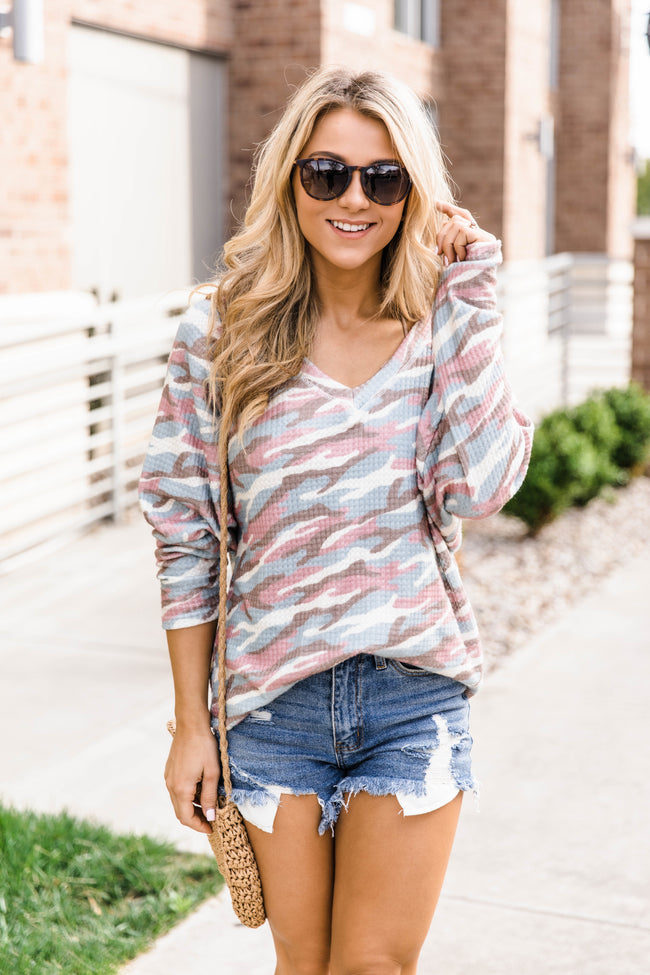 Can't You See The Love Multicolor Camo Print Blouse FINAL SALE