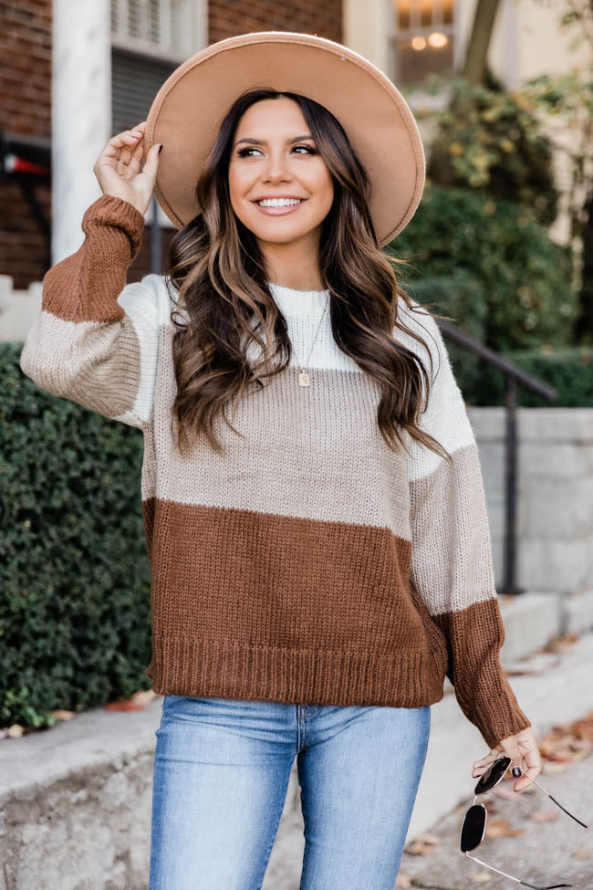 Carefree Love Brown Colorblock Sweater