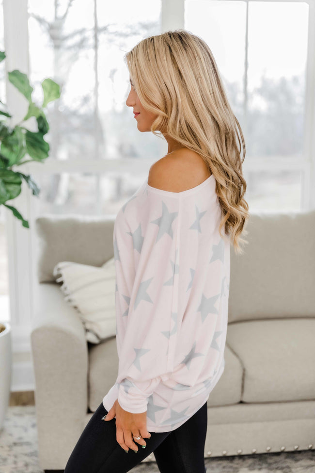Catch Me If You Can Blush/Grey Star Printed Blouse