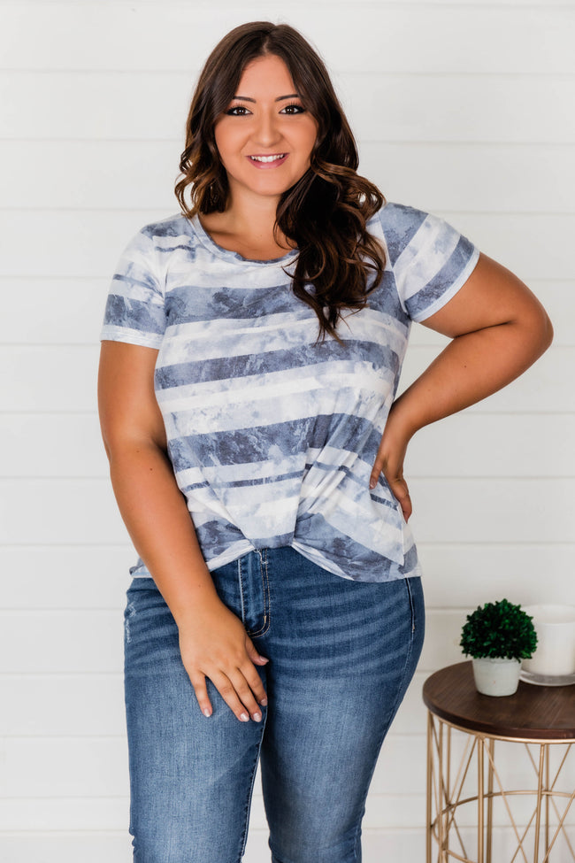 Catching Daydreams Tie Dye Striped Blouse Navy