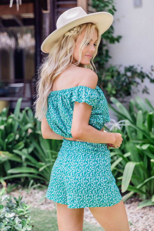 Celebrate Summer Green Floral Two Piece Set