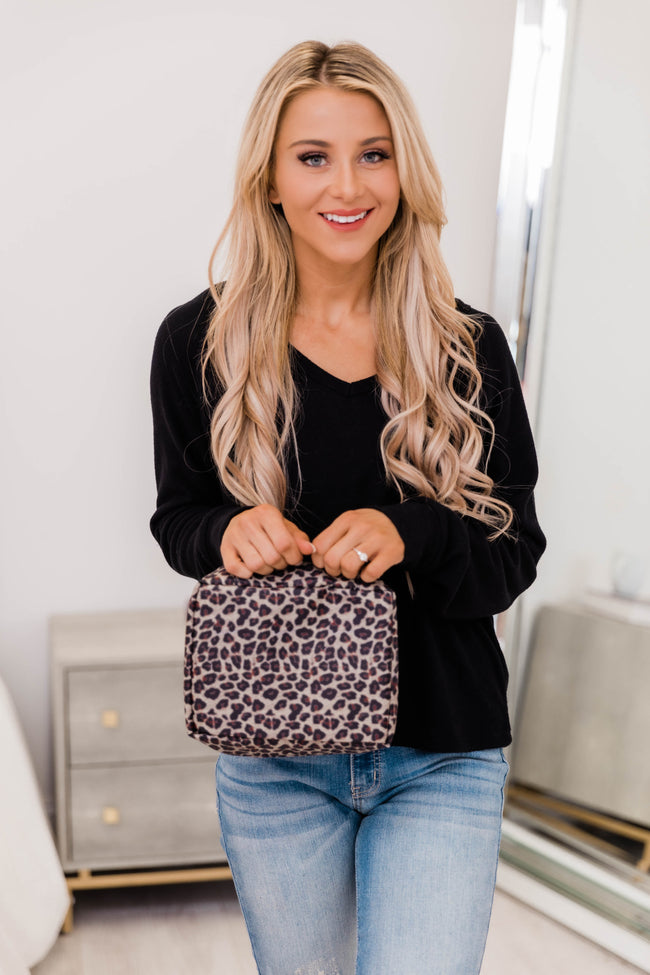 Change Up My Look Brown Animal Print Makeup Bag
