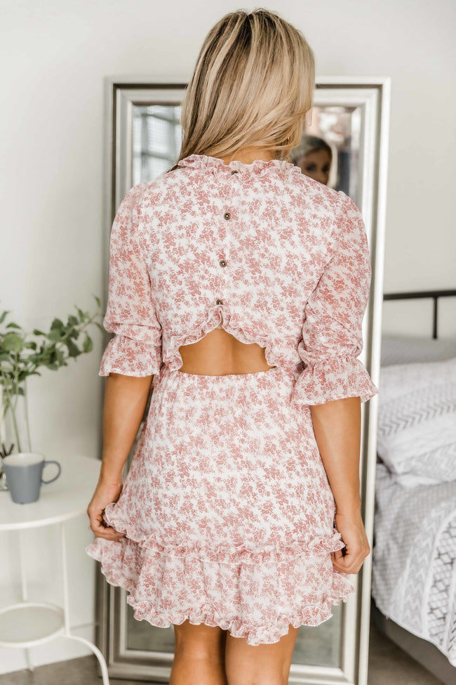 Cherish You Forever Cream Floral Dress