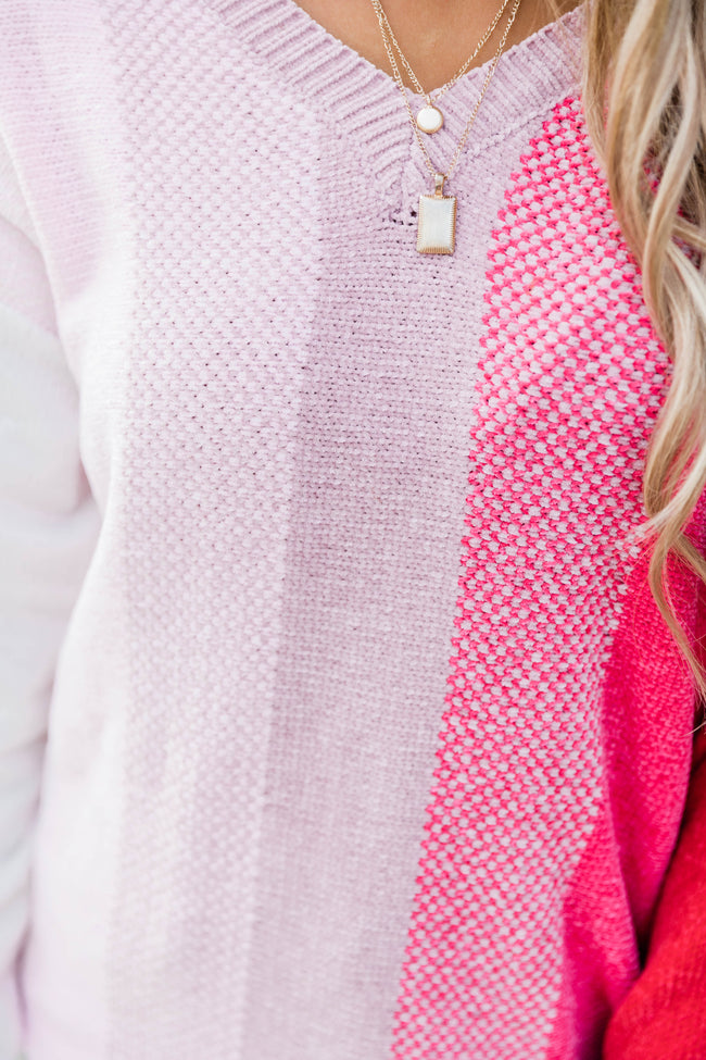 Cherish You Most Pink Striped Sweater FINAL SALE