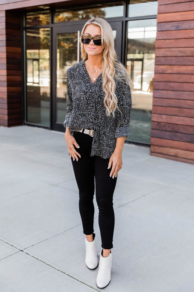 Chic Lifestyle Spotted Black Blouse CLEARANCE