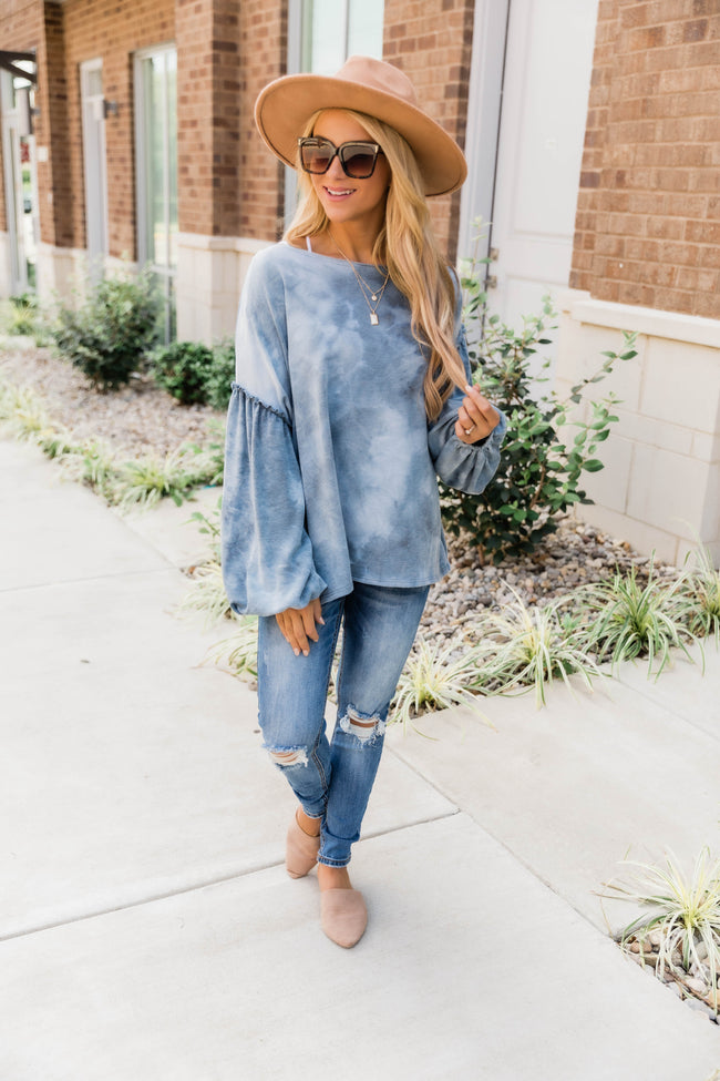 Closer To My Heart Blue Tie Dye Blouse