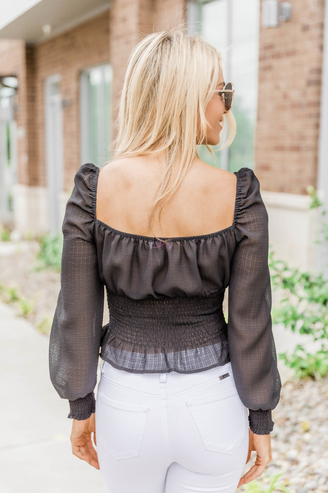 Come And Follow Me Black Blouse CLEARANCE