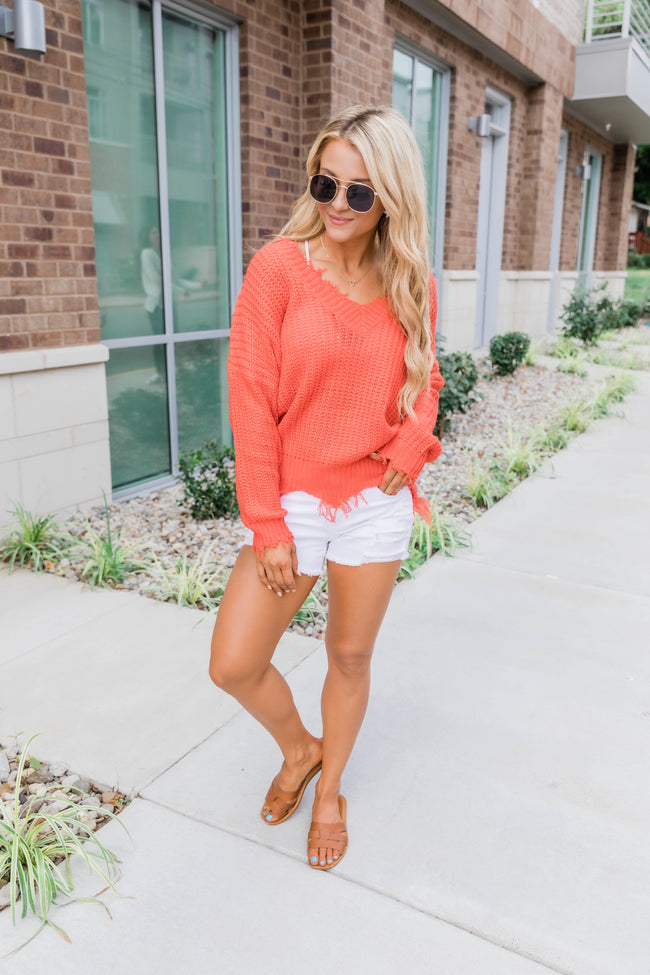 Commitment To Cool Orange Distressed Sweater SALE