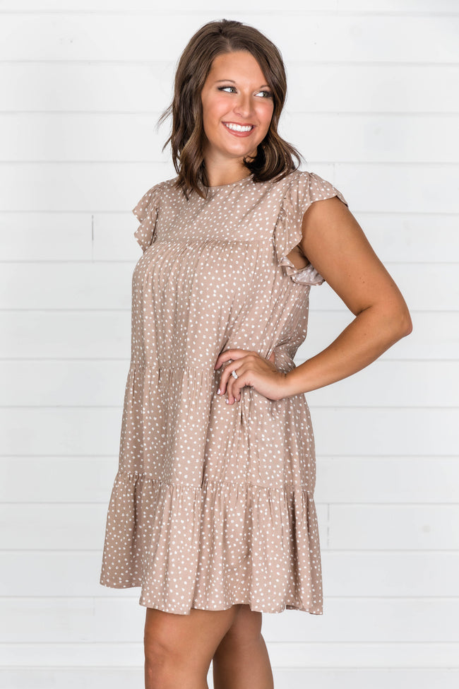 Complete My Heart Dotted Taupe Dress