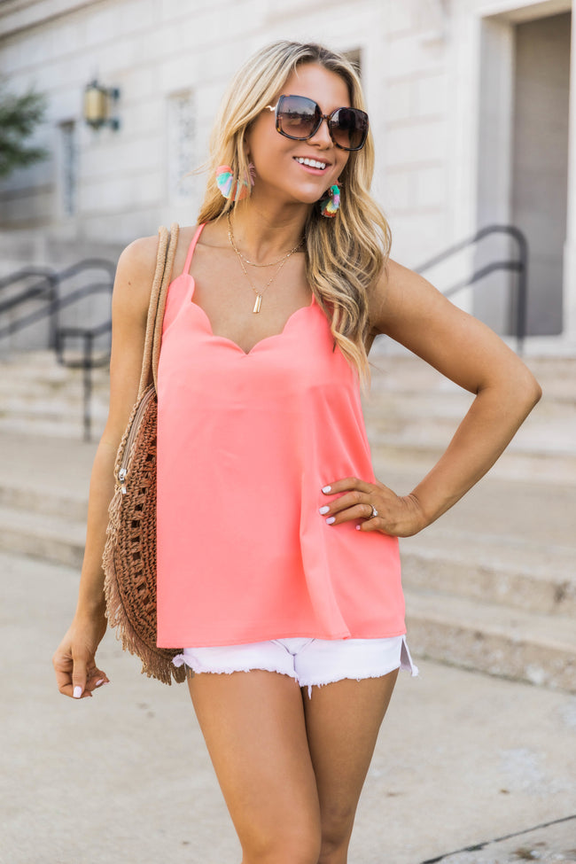 Confess My Love Scalloped Cami Coral