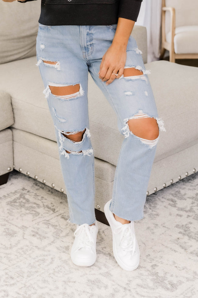 Cindy Distressed Mom Jeans Light Wash