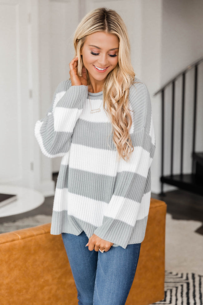 Curl Up With You Striped Sweater Grey