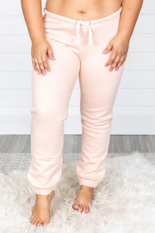 Cut To The Chase Solid Joggers Peach