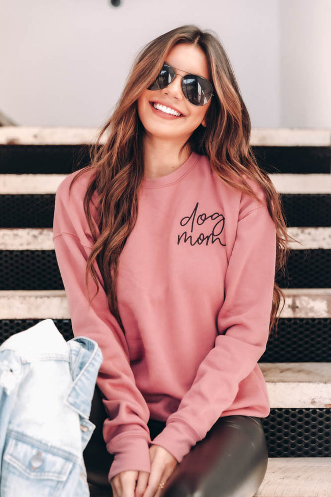 Dog Mom Script Embroidered Mauve Sweatshirt