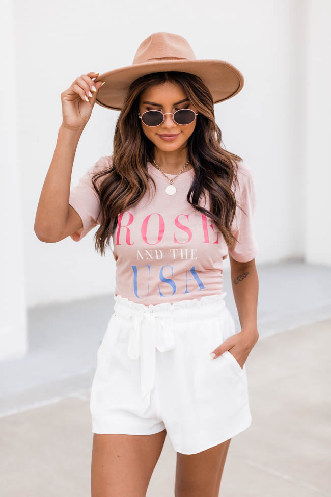 Rose' And The USA Graphic Tee Peach