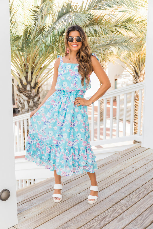 Delightful Surprise Aqua Floral Midi Dress CLEARANCE