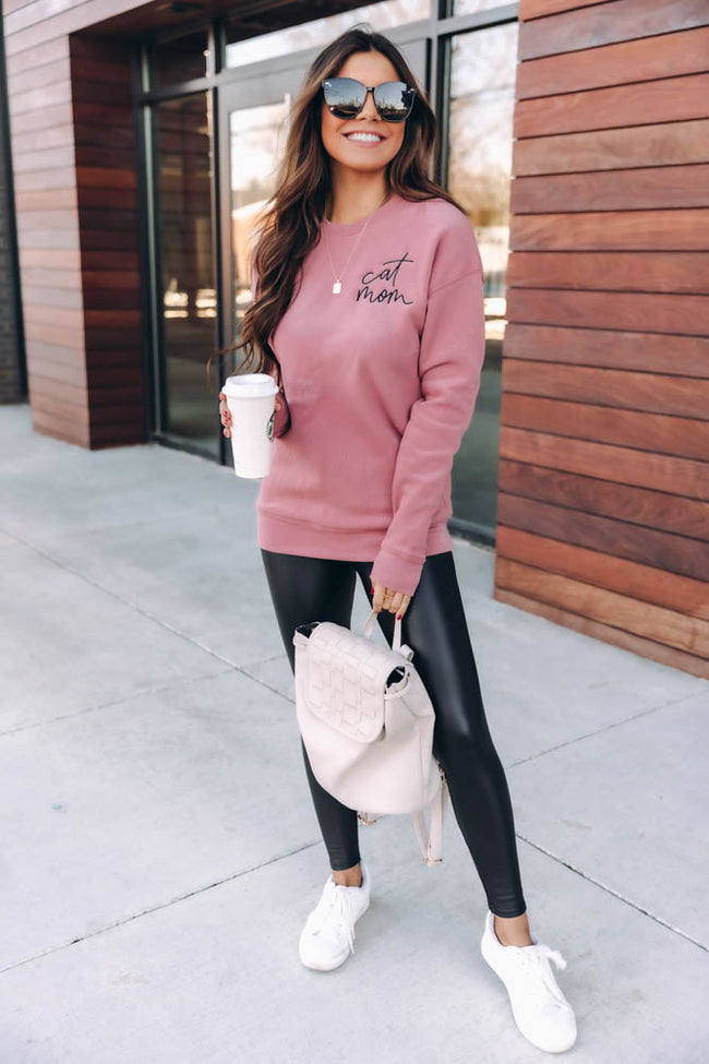 Cat Mom Script Embroidered Mauve Sweatshirt