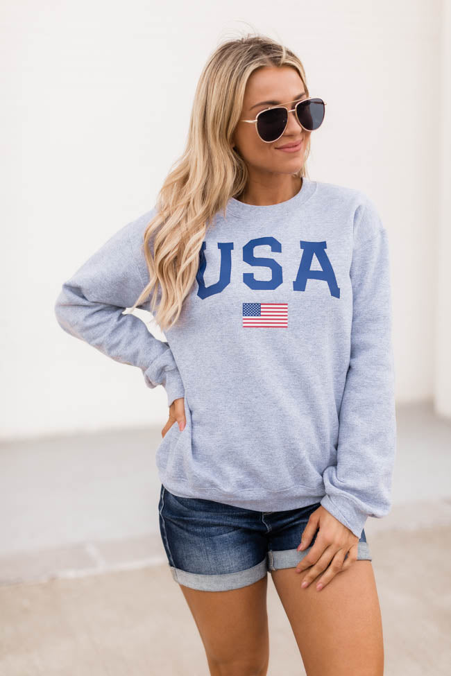 Athletic USA Flag Sweatshirt Sport Grey