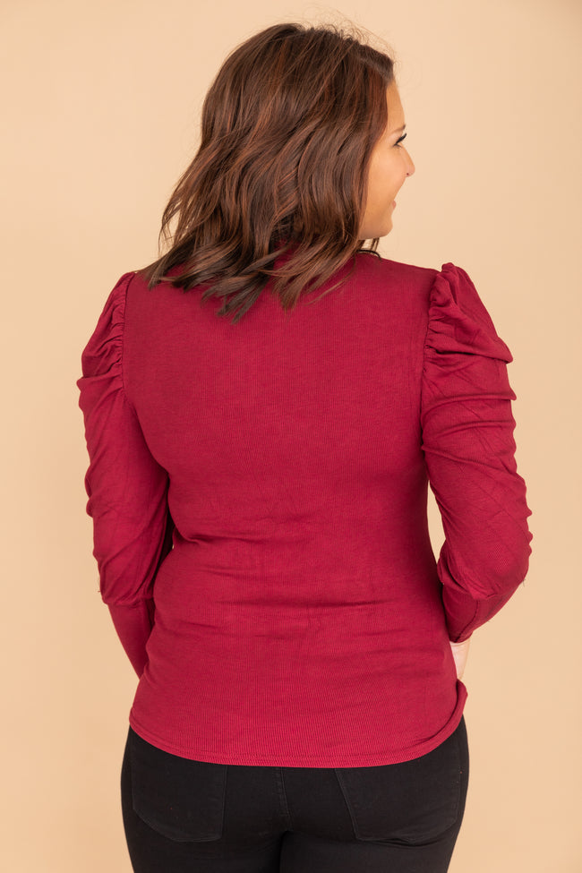 Elated To See You Mockneck Burgundy Blouse