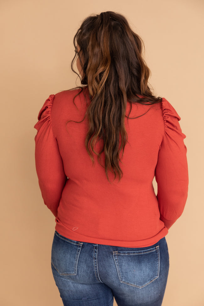Elated To See You Mockneck Cinnamon Blouse