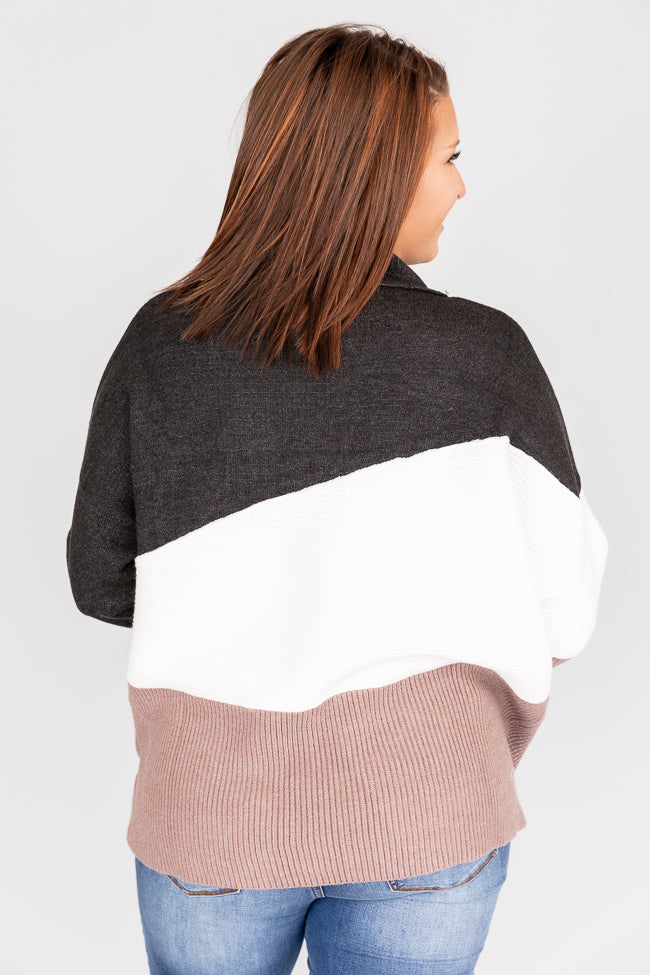 Endless Possibilities Colorblock Turtleneck Black Sweater